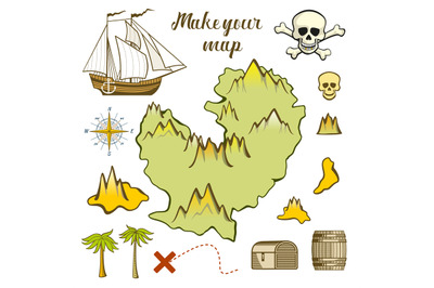 Map of island - game for kids with ship, island