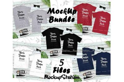 Front & Back Blank Tshirt Mockup Bundle, 5 Colors Gildan Tee