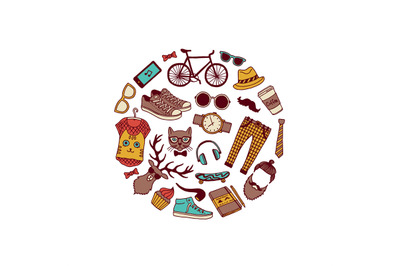 Vector hipster doodle icons in circle shape illustration