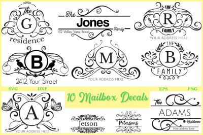 10 Mailbox Decals - Mailbox Cut Files Pack