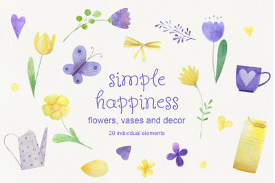 Simple happines. Set of watercolor flowers and decor