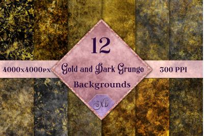 Gold and Dark Grunge Backgrounds - 12 Image Set