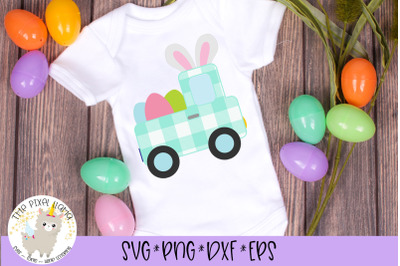 Plaid Easter Truck With Ears SVG