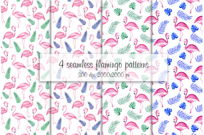 Watercolor flamingo pattern