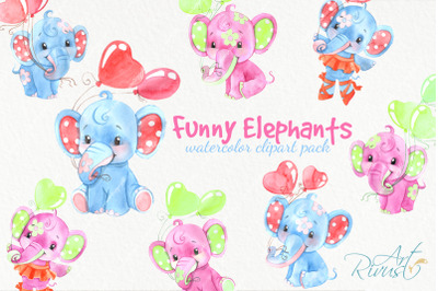 Funny watercolor elephants clipart for baby boys and girls