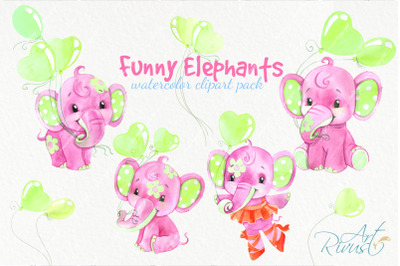 Funny watercolor elephants clipart for baby girls