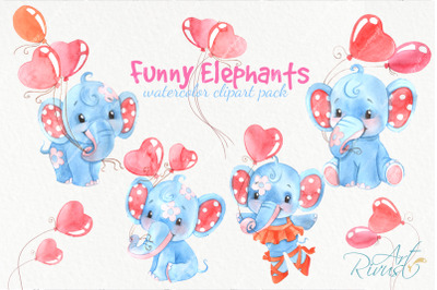Funny watercolor elephants clipart for baby boys