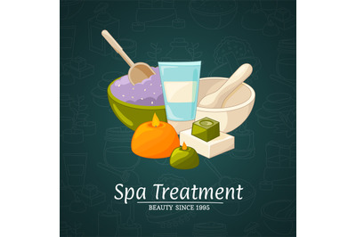 Vector illustration with cartoon beauty and spa elements