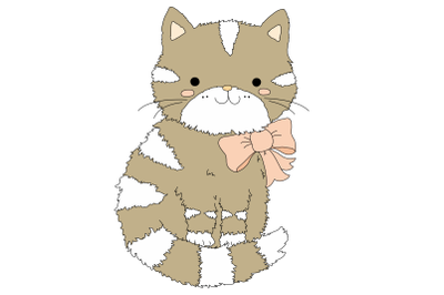 Cute Cartoon Cat With A Pink Bow | Clip Art Illustration | PNG/JPEG