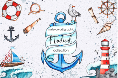 Watercolor graphic nautical set
