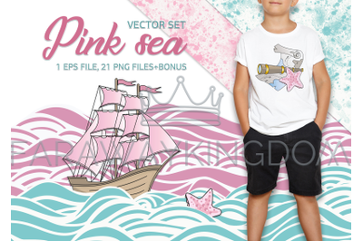 PINK SEA Travel Cruise Cartoon Vector Illustration Set for Print