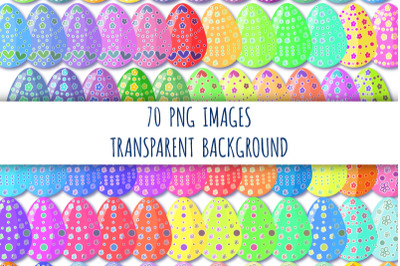 70 Easter eggs clipart. Decorated easter eggs. Colorful eggs