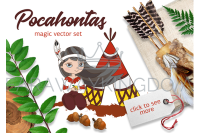 POCAHONTAS Cartoon Princess Clipart Vector Illustration Set for Print