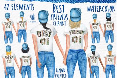 Watercolor Best Friends Clipart