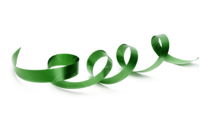 green silk ribbon on white