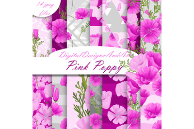 Pink poppy digital paper