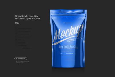 Glossy Metallic Sachet Mockup Front View