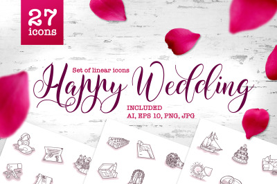 Happy Wedding vector set of line art icons