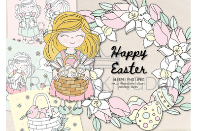 HAPPY EASTER Vector Illustration, Seamless Pattern, Wreath, Card Set