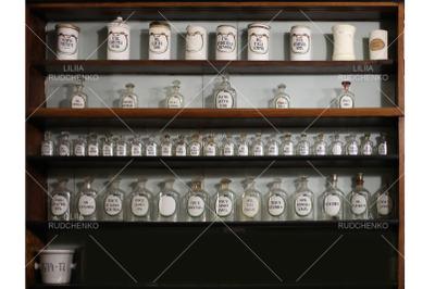 Shelves with medicines in retro pharmacy
