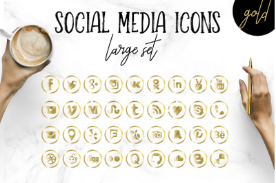 Social Media Icons Set in Gold