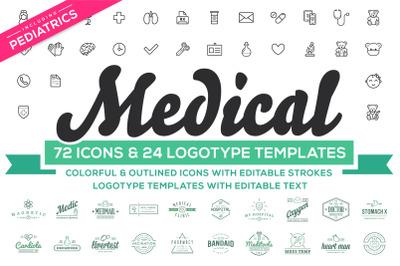 Medical Pediatrics Icons & Logos Set