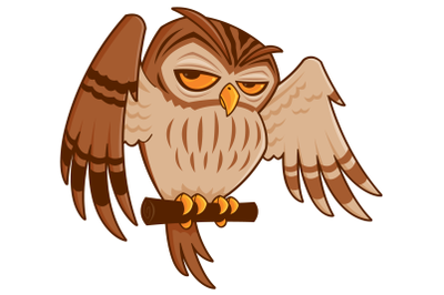Cartoon Owl on Perch