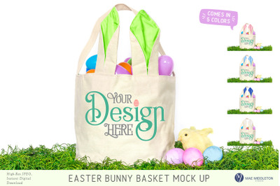 Easter Basket with bunny ears Mock up