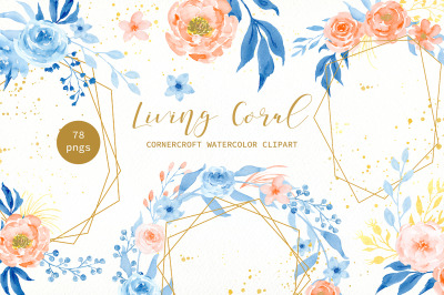 Watercolor Living Coral Floral Collection