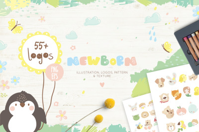Baby logos, illustration & texture
