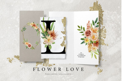 Flower Love - Watercolor Graphic Set