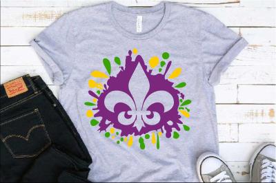 Fleur de Lis Mardi ink Splash Gras SVG Louisiana Fat Tuesday 1278s