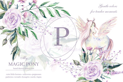 My magic Pony. Watercolor graphic kit.
