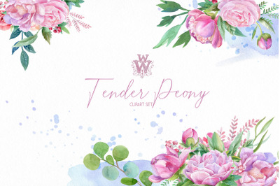 Watercolor peonies floral bouquets clipart