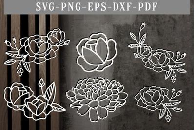 Bundle Of 6 Floral Papercut Template, Flowers Scrapbook DXF, SVG, PDF
