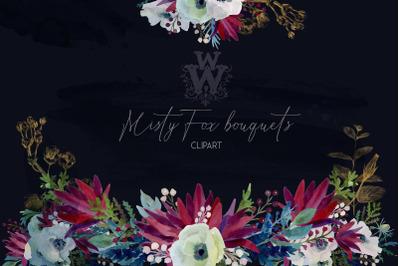 Watercolor anemone wedding floral bouquets