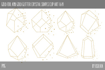 Gold Foil Crystals and Gold Glitter Crystals Clip Art