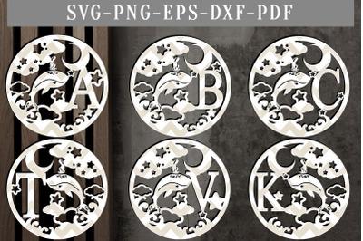 26 letters Whale Monogram Papercut Templates, Nursery SVG, PDF, DXF