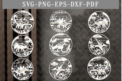 Bundle Of 9 Dinosaur Papercut Templates, Kids Nursery Decor SVG, DXF