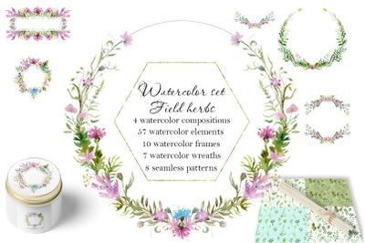 Watercolor set - Field herbs