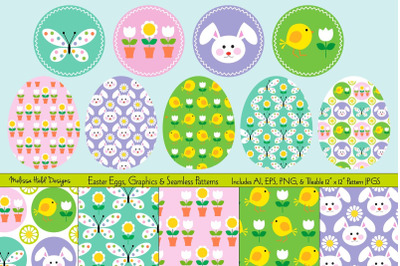 Easter Eggs, Graphics, & Seamless Patterns