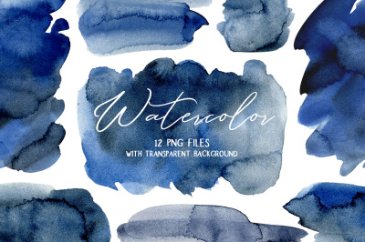 Navy Blue Watercolor Stains Splashes PNG