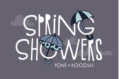 Spring Showers Font + Doodles