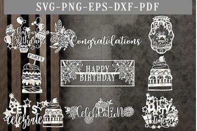 Bundle Of 9 Birthday Papercut Templates, Cake Topper Design SVG, DXF