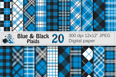 Blue and Black Plaid Digital Papers / backgrounds