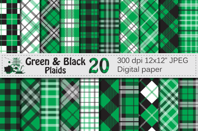 Green and Black Plaid Digital Papers / backgrounds