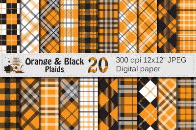 Orange and Black Plaid Digital Papers / backgrounds