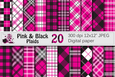Pink and Black Plaid Digital Papers / backgrounds