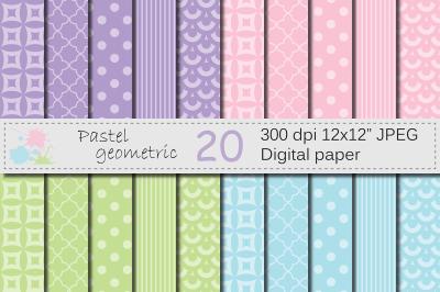 Pastel pink, purple, blue, green geometric digital papers