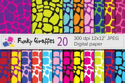 Bright giraffe digital papers / giraffe pattern backgrounds